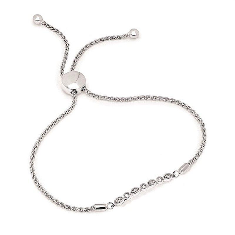 1/8ct tw Diaond Bolo Bar Bracelet in Sterling Silver