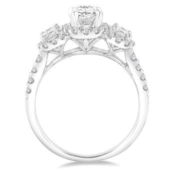 9/10 ct tw Diamond Halo Engagement Ring Setting in 14K White Gold
