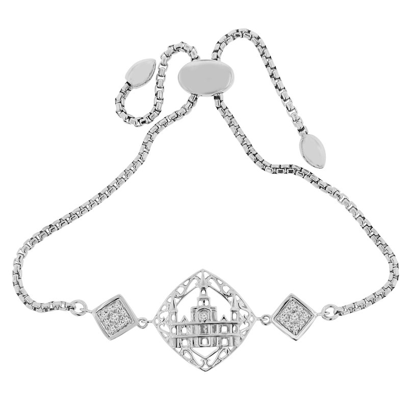 1/8ct tw Diamond Nola Collection Catherdral Bolo Bracelet in Sterling Silver