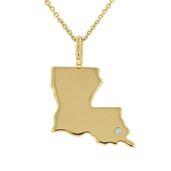 .01ct tw Diamond Louisiana State of Mind Necklace in 10K Yellow Gold