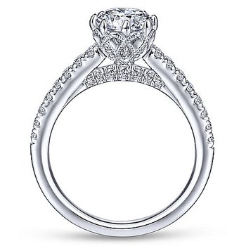 3/8ct tw Diamond Engagment Ring Setting in 14K White Gold