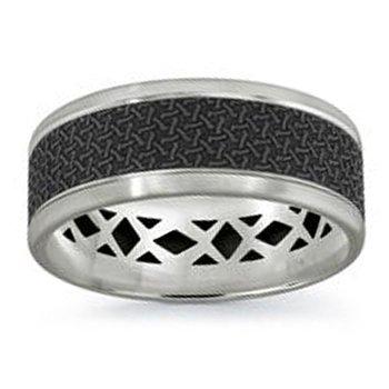 8mm Wedding Ring in 14K White Gold & Black Carbon Fiber
