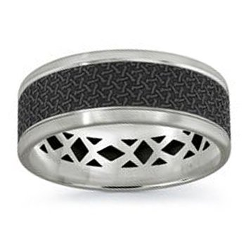 8mm Wedding Ring in 14K White Gold & Black Carbon Fiber