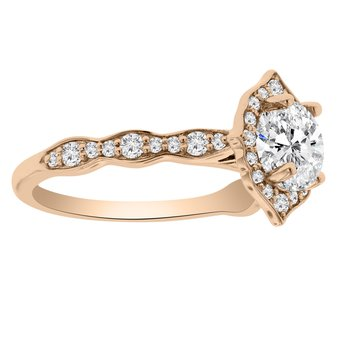 1 1/8ct tw NewBorn Lab Created Diamond Halo Engagement Ring in 14K Rose Gold