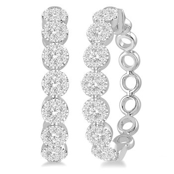 1ct tw Diamond Thousand Points of Light Hoop Earrings in 14K White Gold