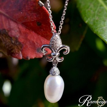 1/10ct tw Diamond & Pearl Fleur De Lis Necklace in 10K White Gold
