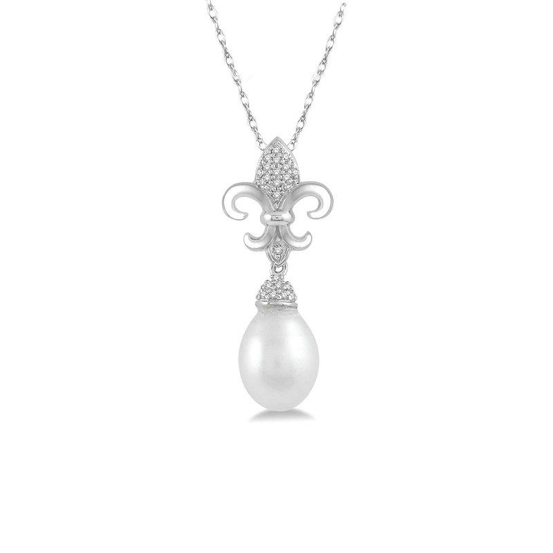 1/10ct tw Diamond & Pearl Fleur De Lis Necklace in 10K White Gold