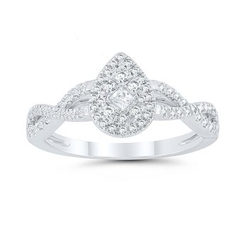 1/3ct tw Diamond Halo Engagement Ring in 10K White Gold