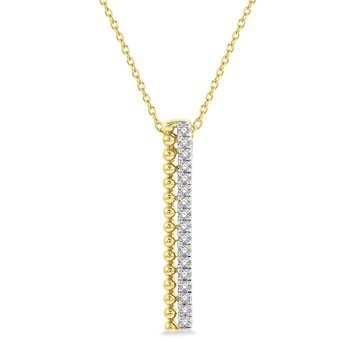 1/8ct tw Diamond Vertical Bar Necklace in 14K Yellow Gold