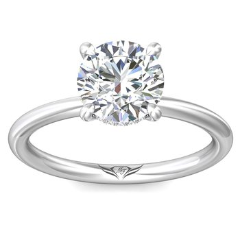 .06ct tw Diamond Hidden Halo Solitaire Engagement Ring Setting in 14K White Gold