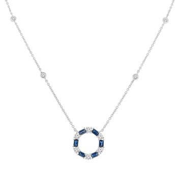 1ct tw Diamond & Blue Sapphire Circle Necklace in 14K White Gold