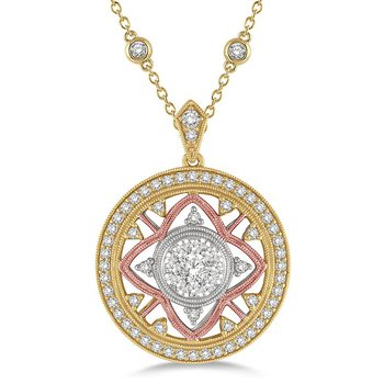 1 1/4ct tw Diamond Thousand Points of Light Necklace in 14K White, Yellow, & Rose Gold