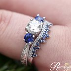 1/5ct tw Diamond & Blue Sapphire Stackable Ring in 10K White Gold