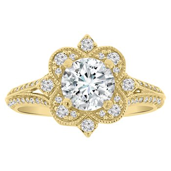 3/8ct tw Diamond Halo Engagement Ring Setting in 14K Yellow Gold