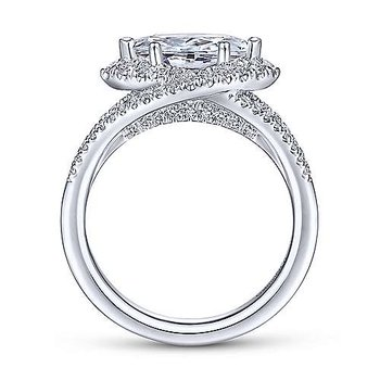 1/2ct tw Diamond East-West Halo Engagement Ring Setting in 14K White Gold