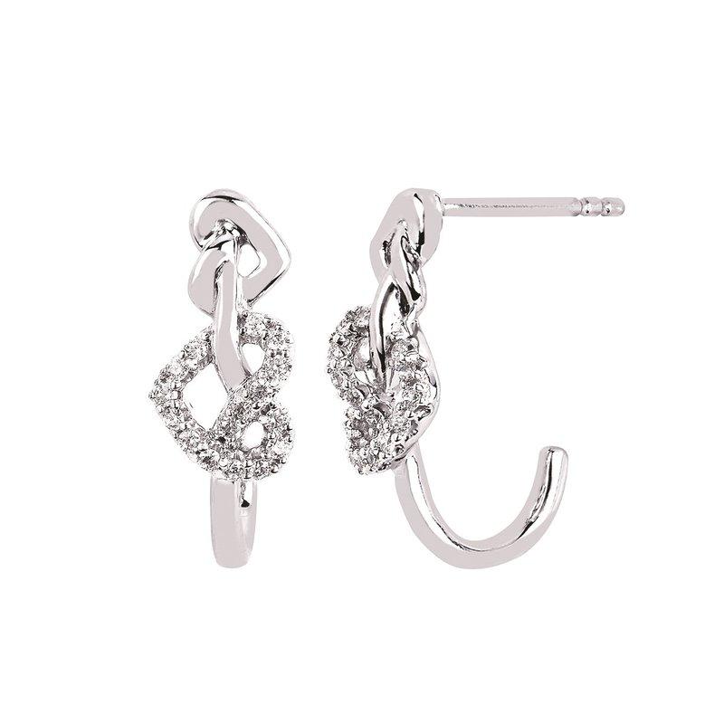 1/8ct tw Diamond Heart Earrings in Sterling Silver