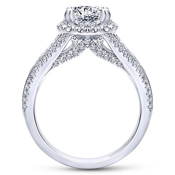 1ct tw Diamond Halo Engagement Ring Setting in 14K White Gold