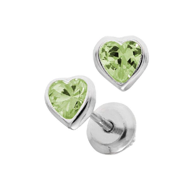 August Birthstone Heart Earrings in Sterling Silver