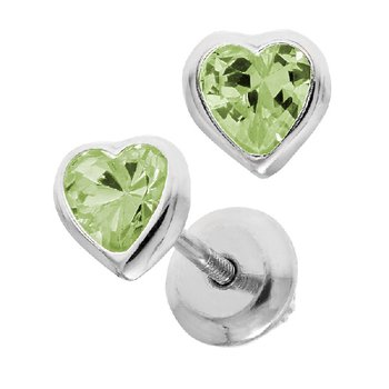 August Birthstone Heart Earrings in Sterling Silver