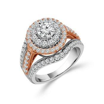 1 1/2ct tw Diamond Halo Engagement Ring in 14K White & Rose Gold
