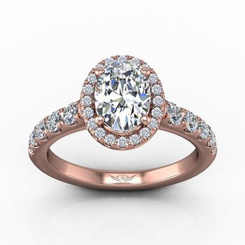 2ct tw Diamond Halo Engagement Ring in 14K Rose Gold