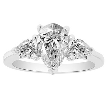 1 7/8ct tw NewBorn Lab Created Diamond Three Stone Engagement Ring in 14K White Gold