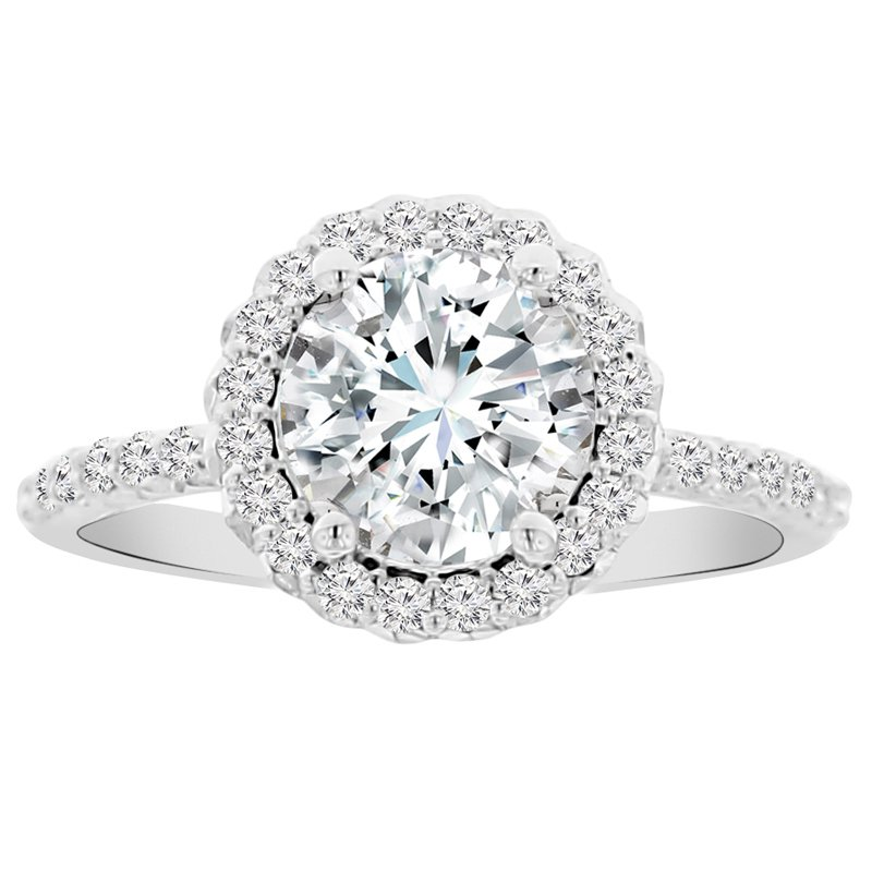 2ct tw NewBorn Lab Created Diamond Halo Engagement Ring Setting in 14K White Gold