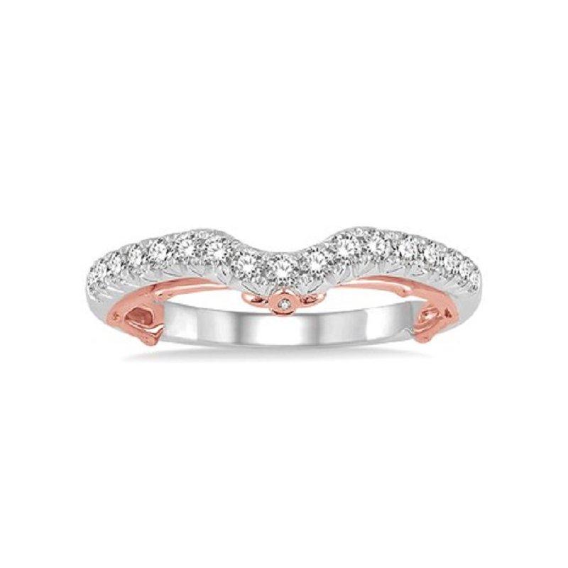 1/3ct tw Diamond Fleur De Lis Wedding Ring in 14K White & Rose Gold