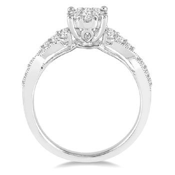 1/2ct tw Diamond Thousand Points of Light Engagement Ring in 14K White Gold