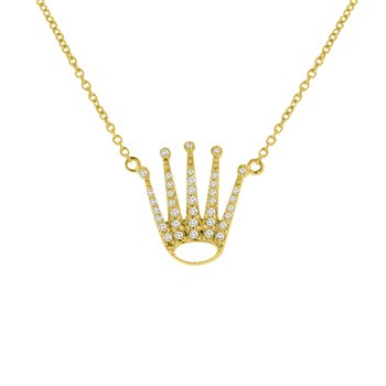 1/8ct tw Diamond Crown Necklace in 14K Yellow Gold