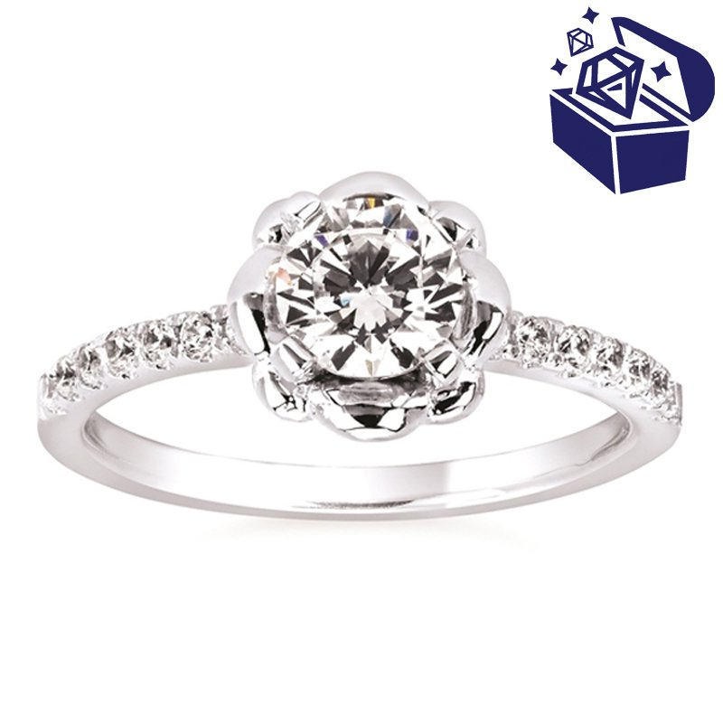Treasure Hunt Value 3/4ct tw Diamond Floral Engagement Ring in 14K White Gold