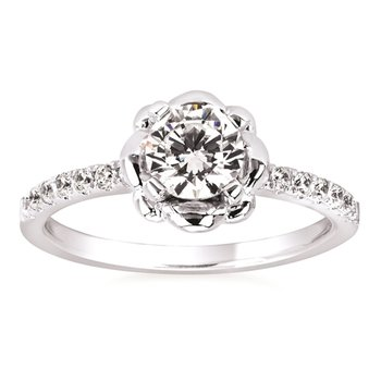 3/4ct tw Diamond Floral Engagement Ring in 14K White Gold