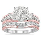 1ct tw Diamond Thousand Points of Light Engagement Ring in 14K White & Rose Gold