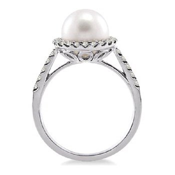 3/8ct tw Diamond & Pearl Halo Ring in 14K White Gold