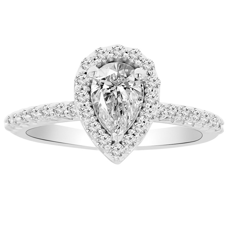 9/10ct tw NewBorn Lab Created Diamond Halo Engagement Ring in 14K White Gold