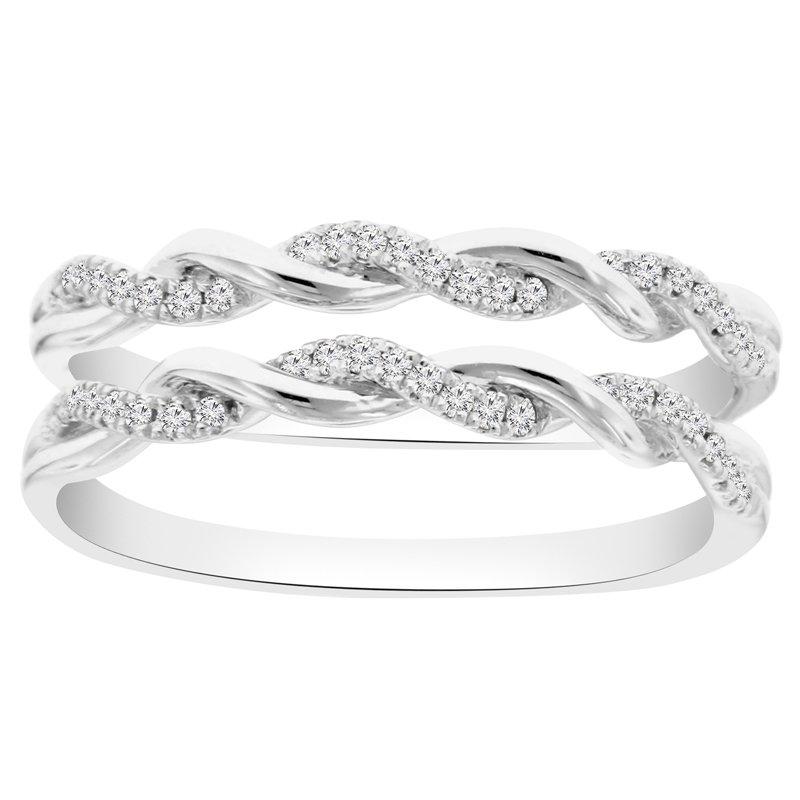 1/5ct tw Diamond Wedding Ring Guard in 14K White Gold
