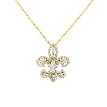 1/2ct tw NewBorn Lab Created Diamond Fleur De Lis Necklace in 10K Yellow Gold