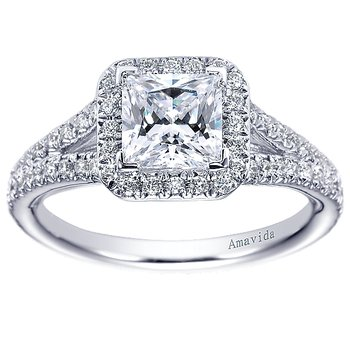5/8ct tw Diamond Halo Engagement Ring Setting in 18K White Gold