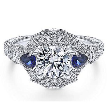 1 1/4ct tw Diamond & Blue Sapphire Engagement Ring in 14K White Gold