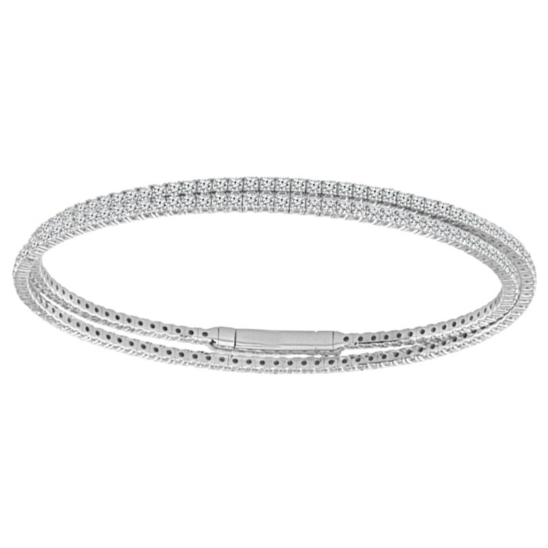 4ct tw Diamond Flexi Collection Bangle Bracelet in 14K White Gold