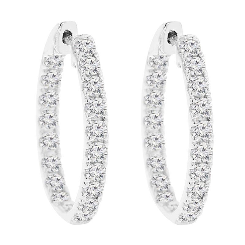 2ct tw NewBorn Lab Created Diamond Hoop Earrings in 14K White Gold