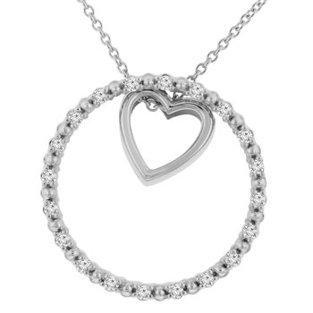 1/5ct tw NewBorn Lab Created Diamond Circle of Love Necklace in Sterling Silver