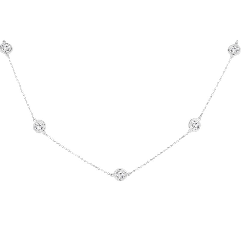 3ct tw NewBorn Lab Created Diamond by the Yard Necklace in 14K White Gold