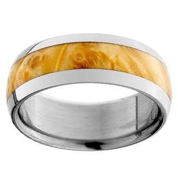 8mm Wedding Ring in Titanium with Elder Burl Inlay