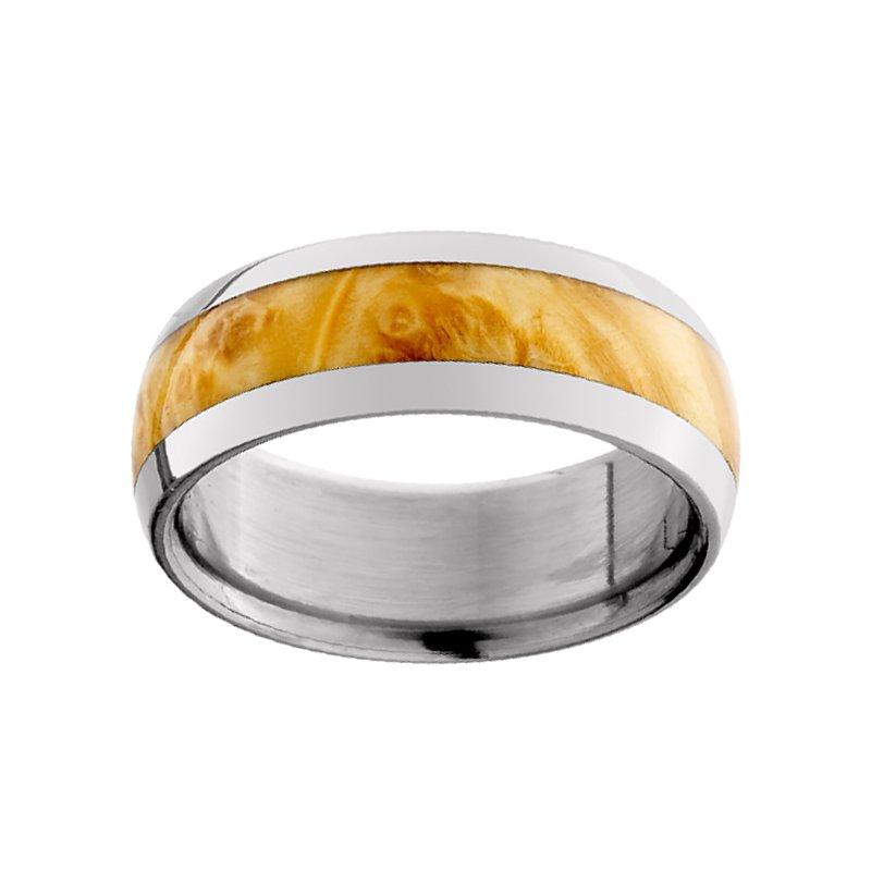 8mm Wedding Ring in Titanium with Elder Burl Inlay