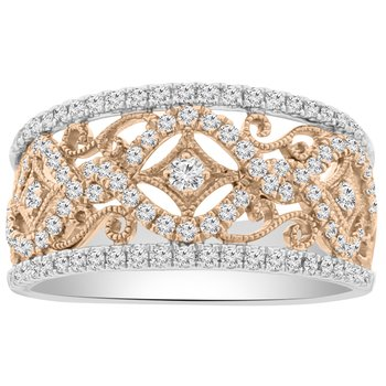 5/8ct tw Diamond Fashion Ring in 18K White & Rose Gold