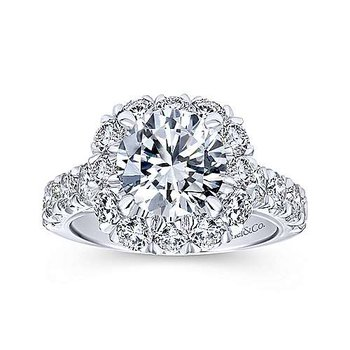 1 3/8ct tw Diamond Halo Engagement Ring Setting in 14K White Gold