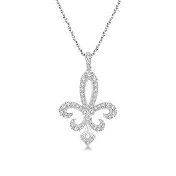 1 5/8ct tw Diamond Fleur De Lis Necklace in 14K White Gold