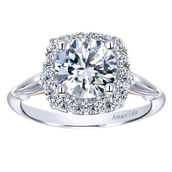 1 5/8ct tw Diamond Halo Engagement Ring in 18K White & Rose Gold