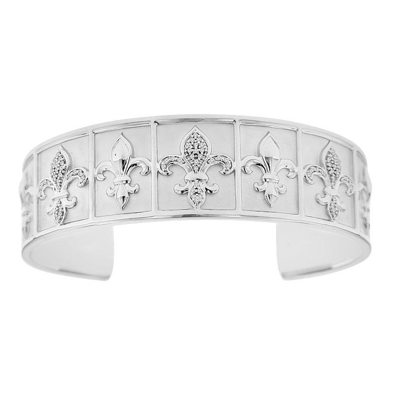 1/4ct tw Diamond 8 Inch Nola Collection Fleur De Lis Cuff Bracelet in Sterling Silver